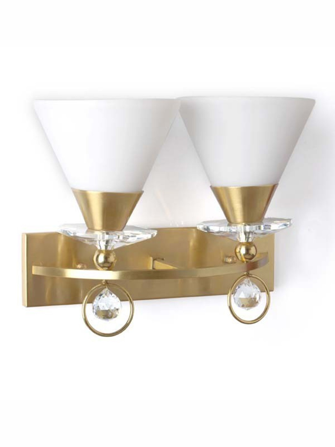 Luxurious Brushed Brass and Crystal Double Wall Light