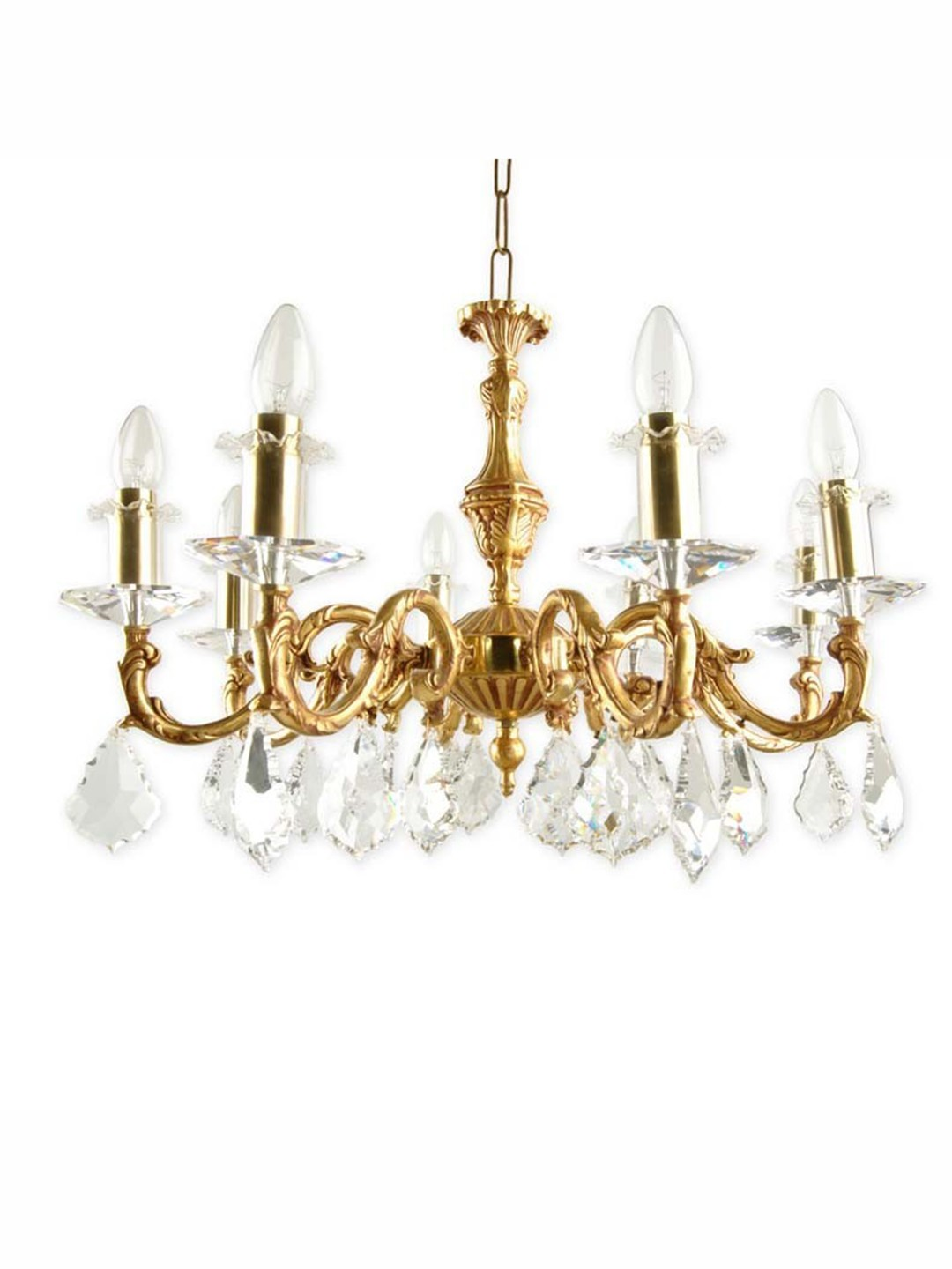 SP Crystal & Brass 8 Light Candle Chandelier