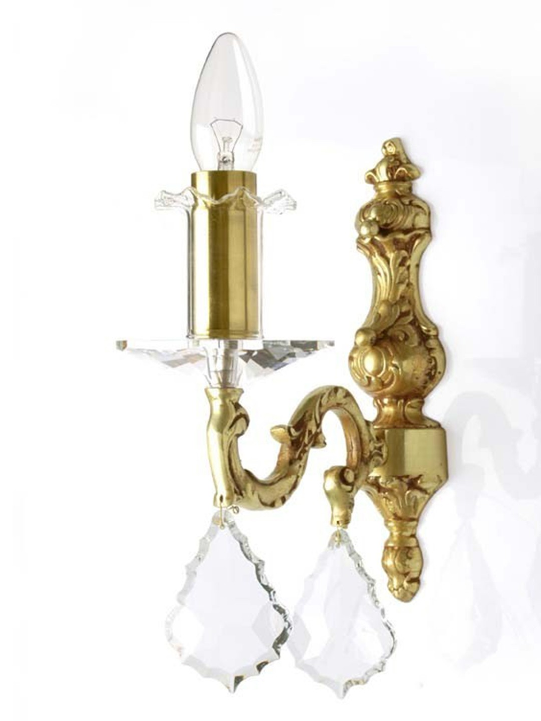 SP Crystal & Brass Single Candle Sconce