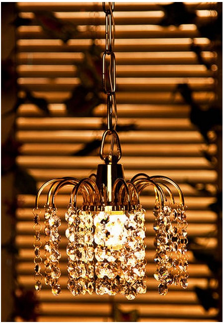 Golden Fountain Crystal Hanging Light