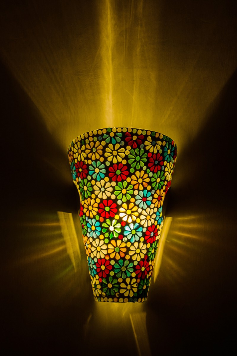 Multicolor Mosaic Conical Wall Sconce