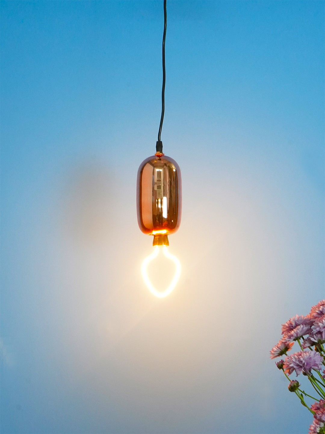 Modern Rose Gold Glass Capsule Pendant Light