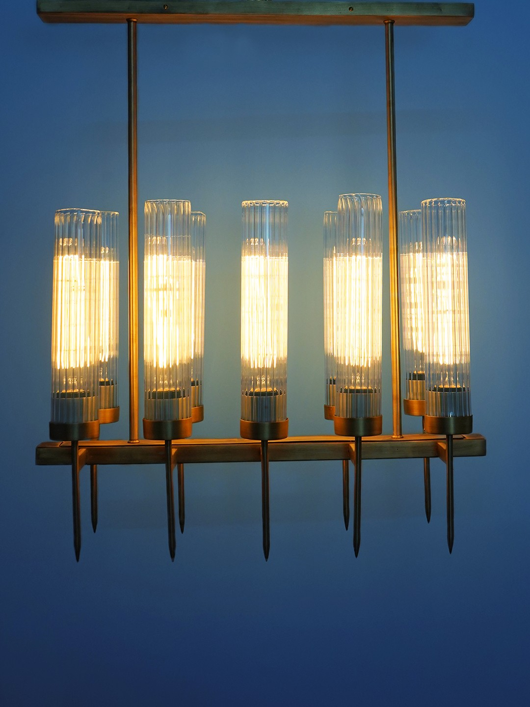 Golden Mini Torchiere 10 Light Chandelier with Fluted Cylindrical Glasses