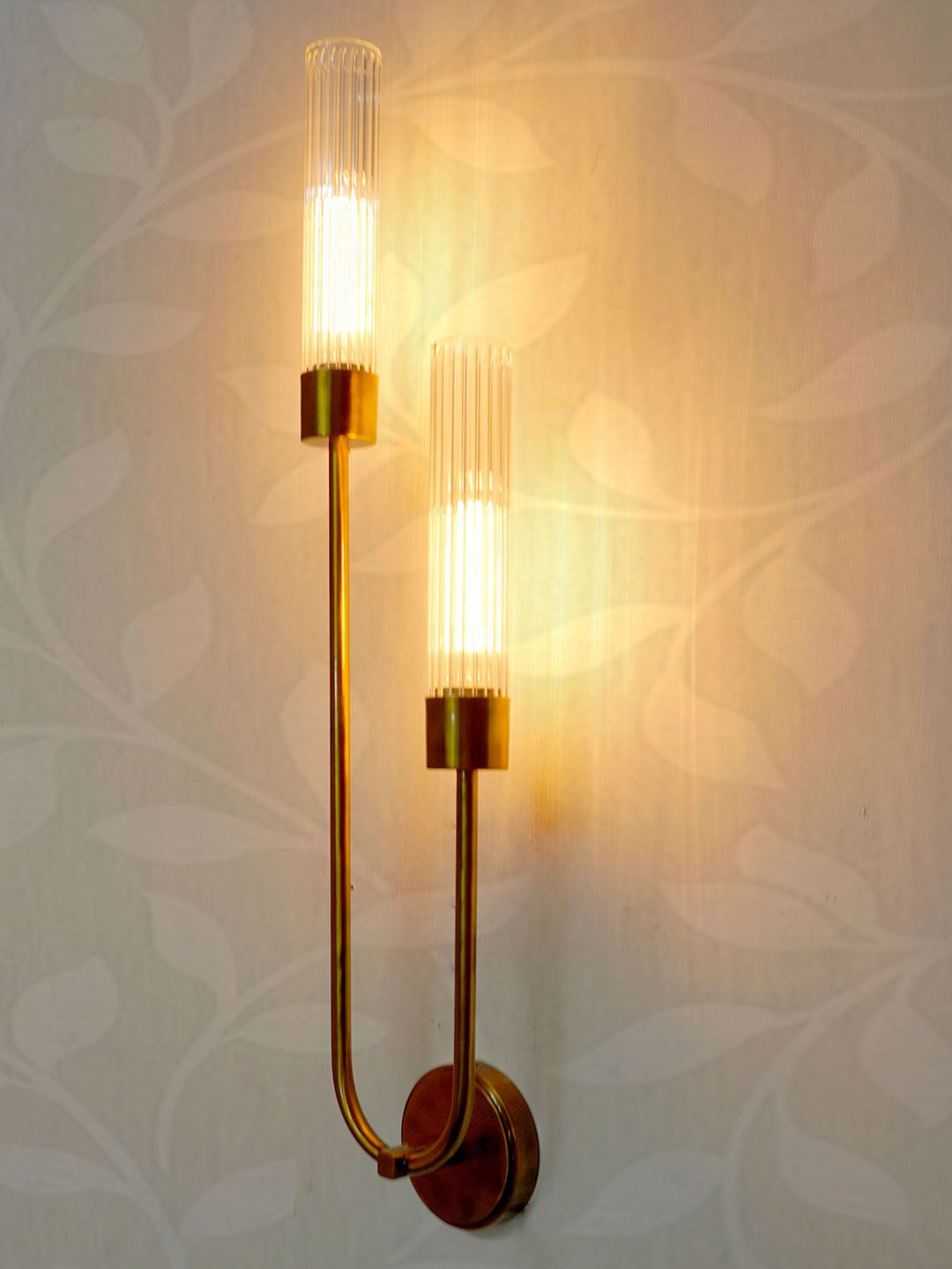 Classy Long U Shaped Antique Gold Metal 2 Light Wall Sconce with Fluted Glass.