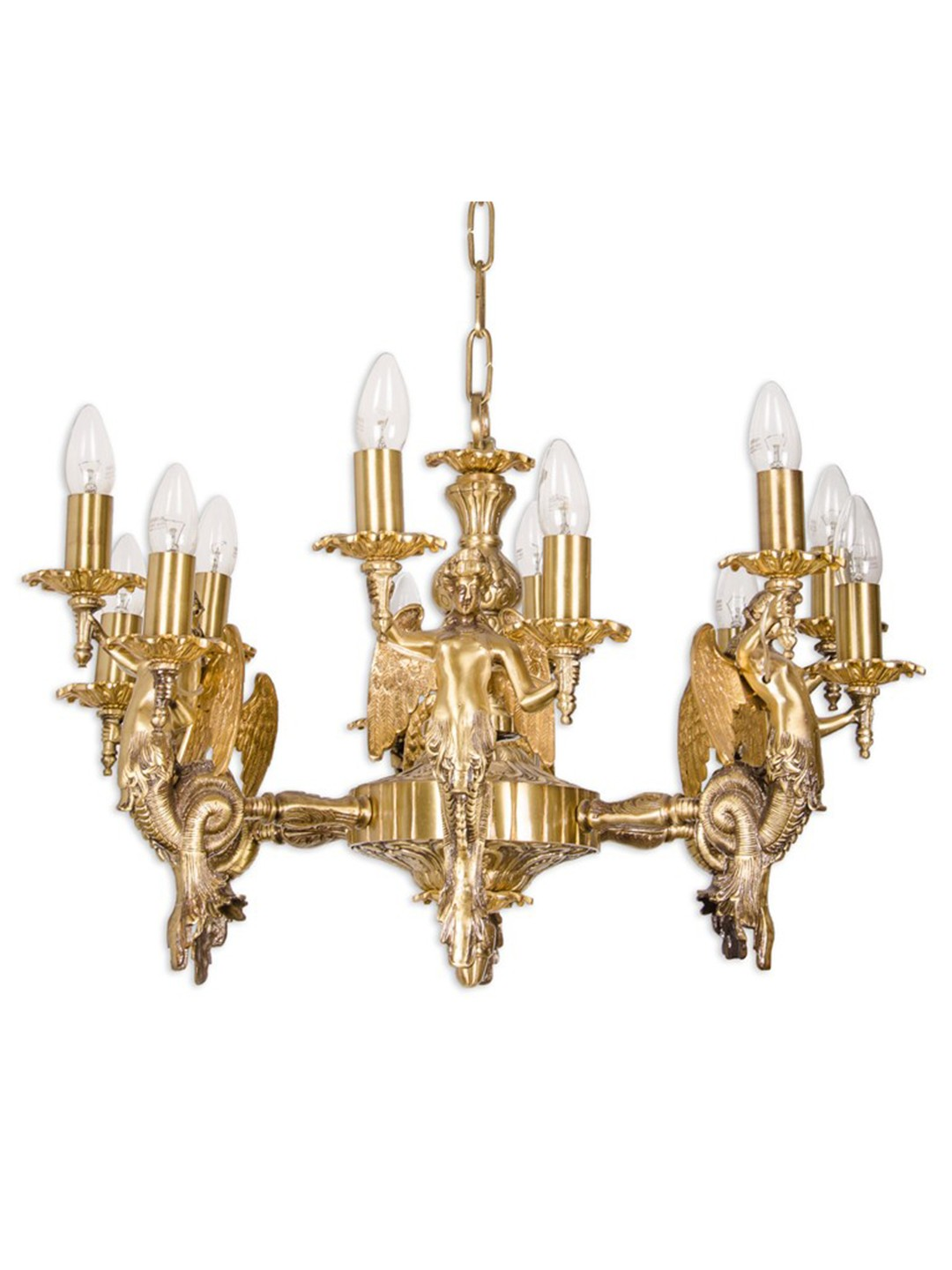 Mermaid 12 light cast brass chandelier