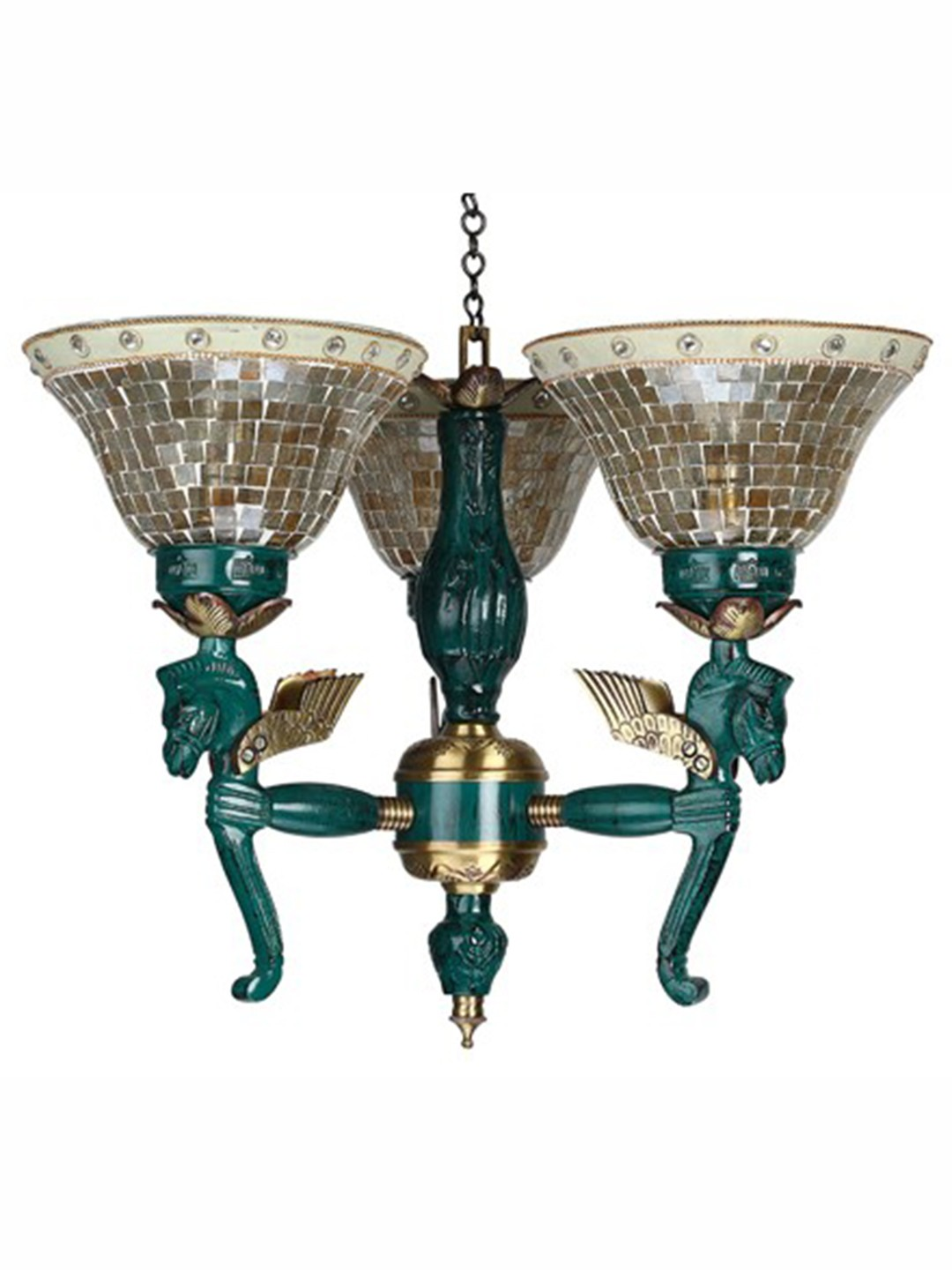 Pegasus Seahorse 3 Light Chandelier - Golden
