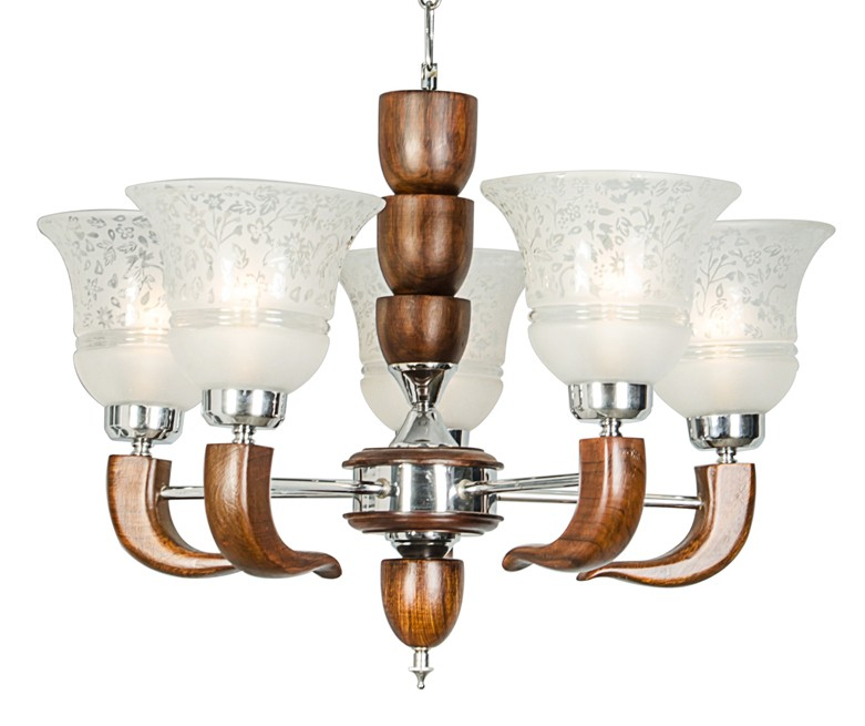 Icon 5 Lights Wooden Chandelier