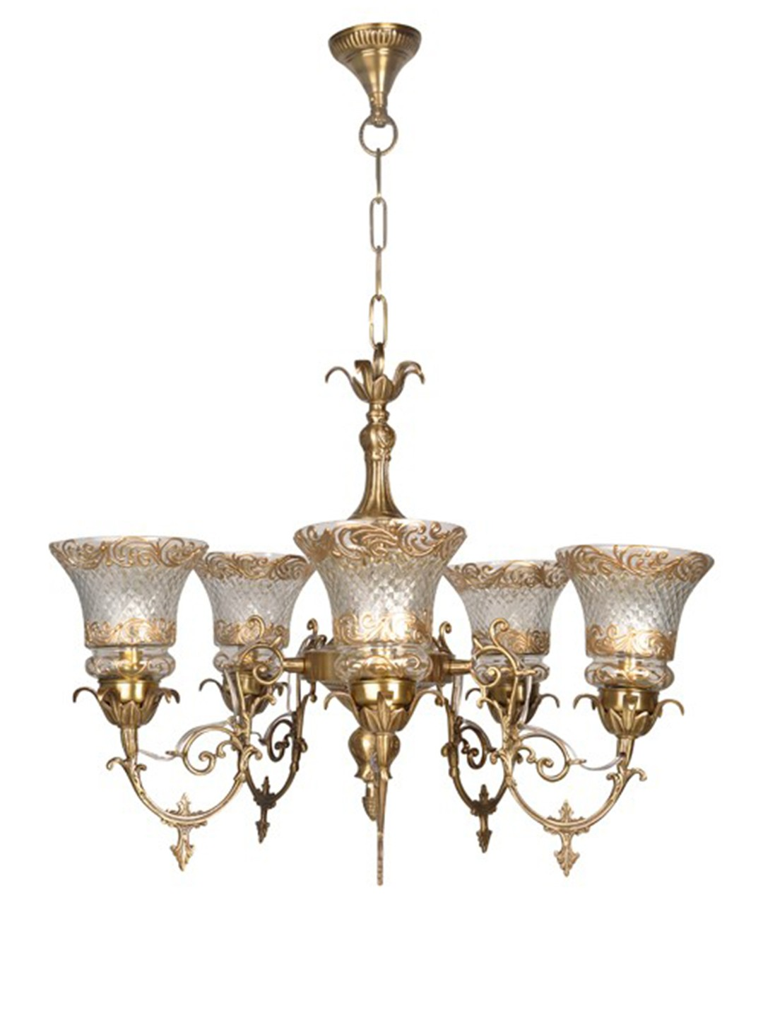 Ornate Brass 5 Light Cut Glass Chandelier