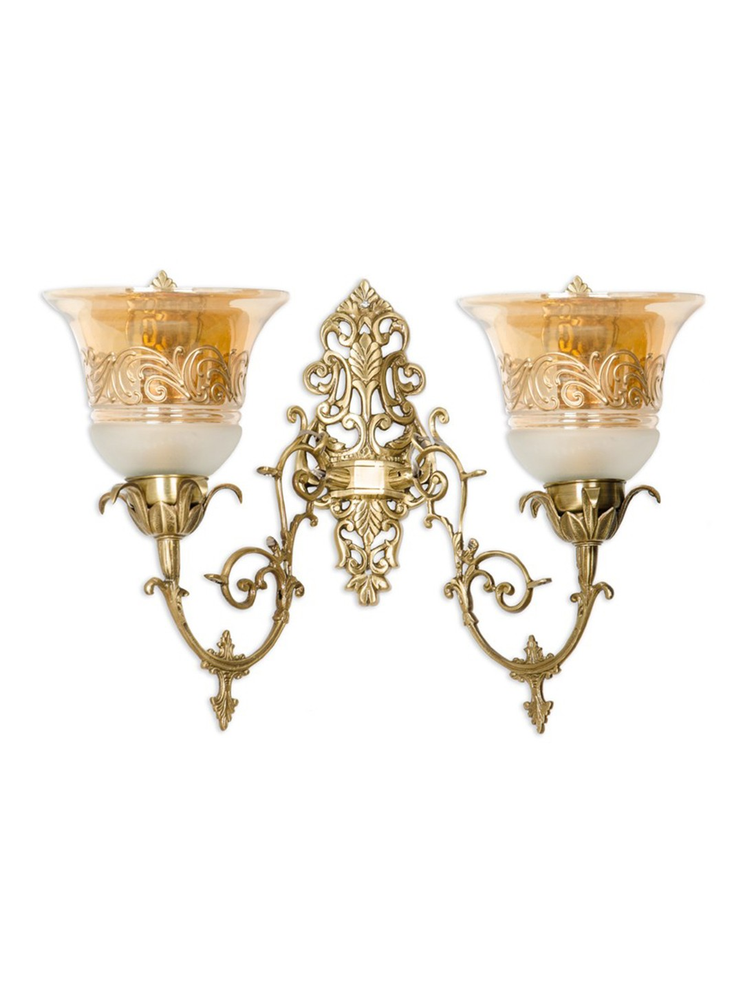 Ornate Cast Brass Double Lustrous Wall Sconce