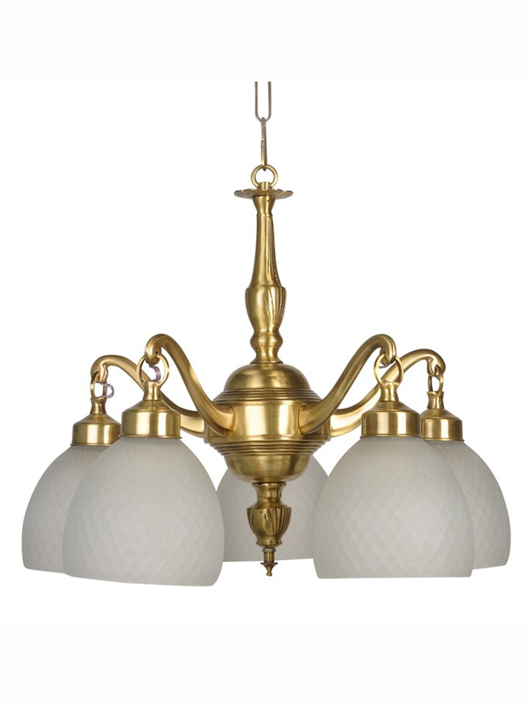 Classic Downward Frosted Diamond Glass 5 Light  Brass Chandelier