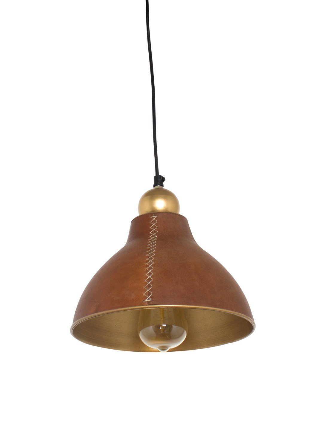 Cross Stitched Small Leather Pendant Lamp