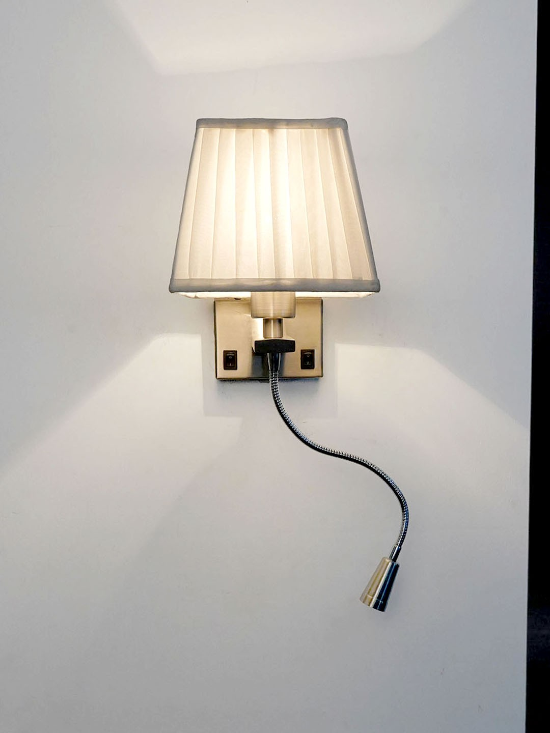 Dual Bedside Wall Light and Flexible LED Reading Light with White Pleated Square Fabric Shade