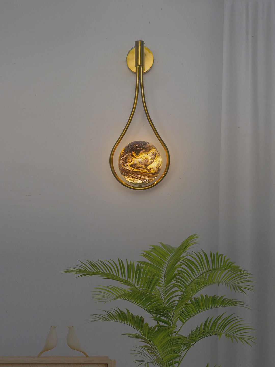 Modern Antique Gold Loop Wall Light with Yellow Black Marble Glass Globe