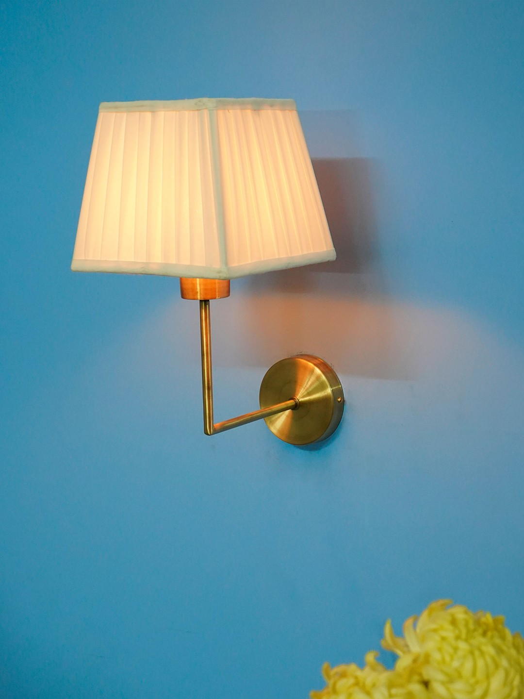 Clean and Simple Matt Brass Finished Wall Sconce with Square Pleated Fabric Shade