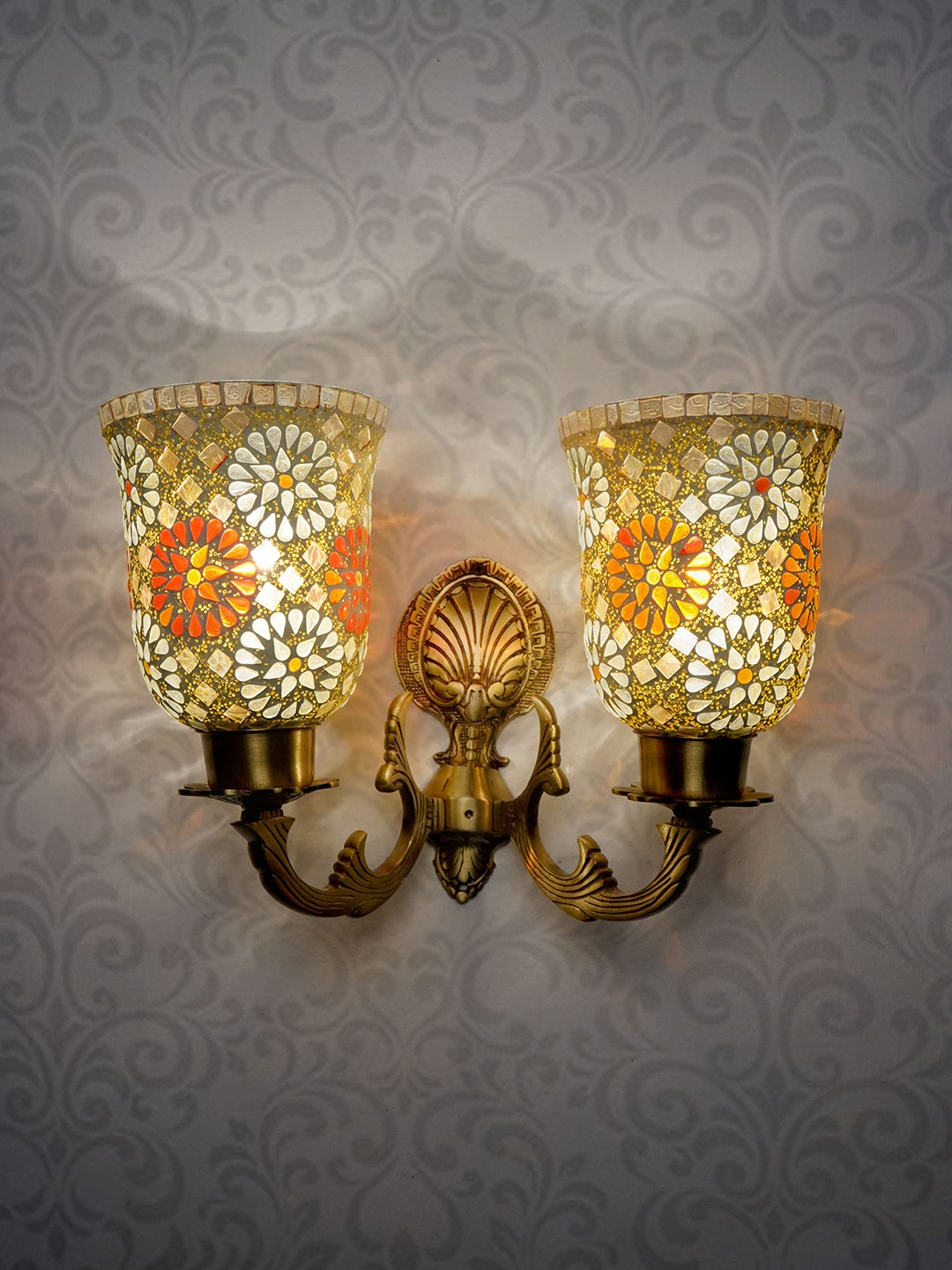 Twin arm wall Light with Tilak Mosaic Glass Shades