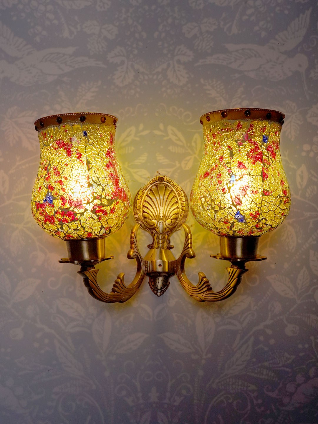 Gold Antique Designer Wall Lamp Wall Light for Dining Room, Bedroom, Living Room Portuguese Style Wall Sconce with Designer Glass and Brass Material
