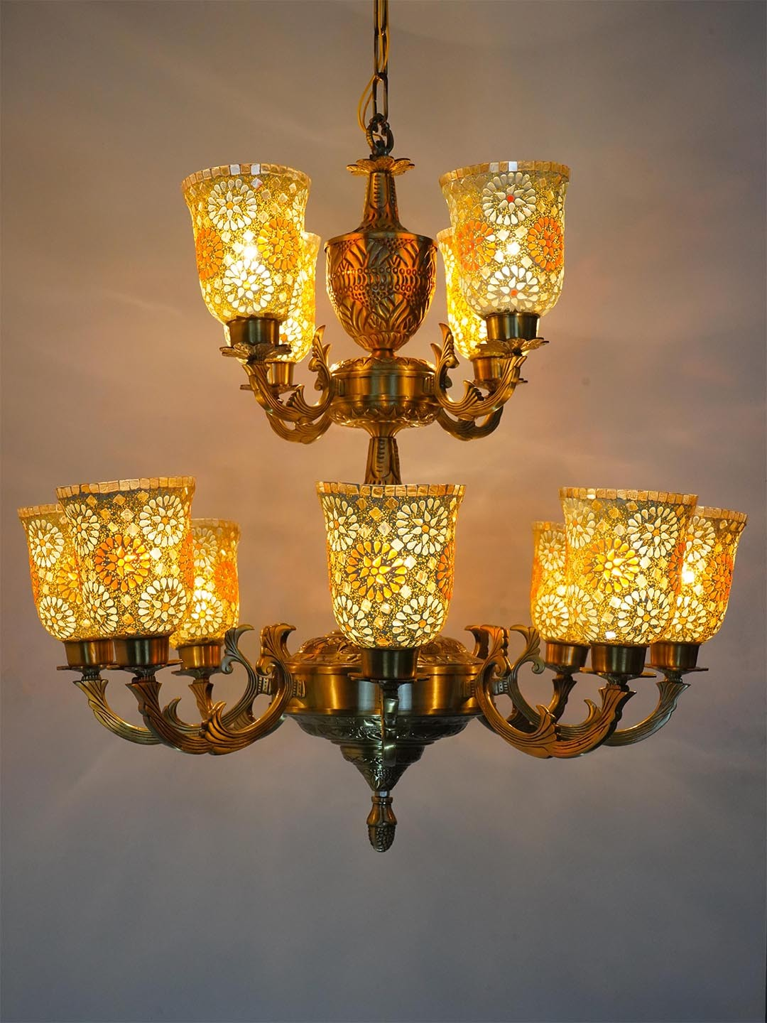 Priya 2 Tier 12 Lights Brass Chandelier with Tilak Mosaic Glasses