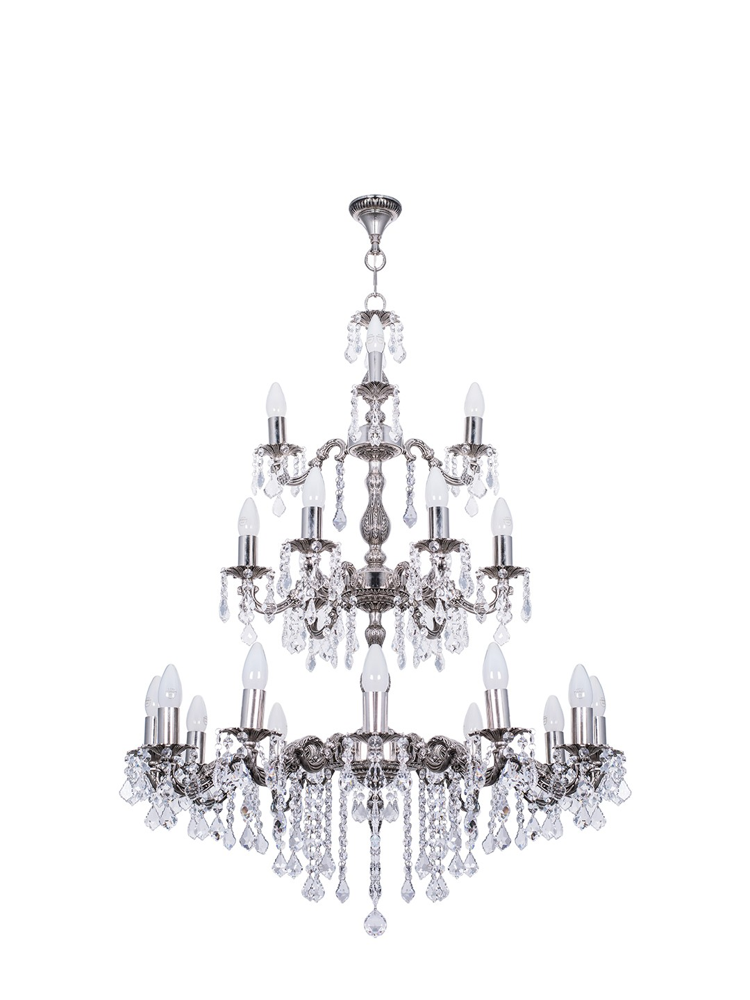 Dainty English Silver Antique Crystal 3 Tier 21 Light Chandelier