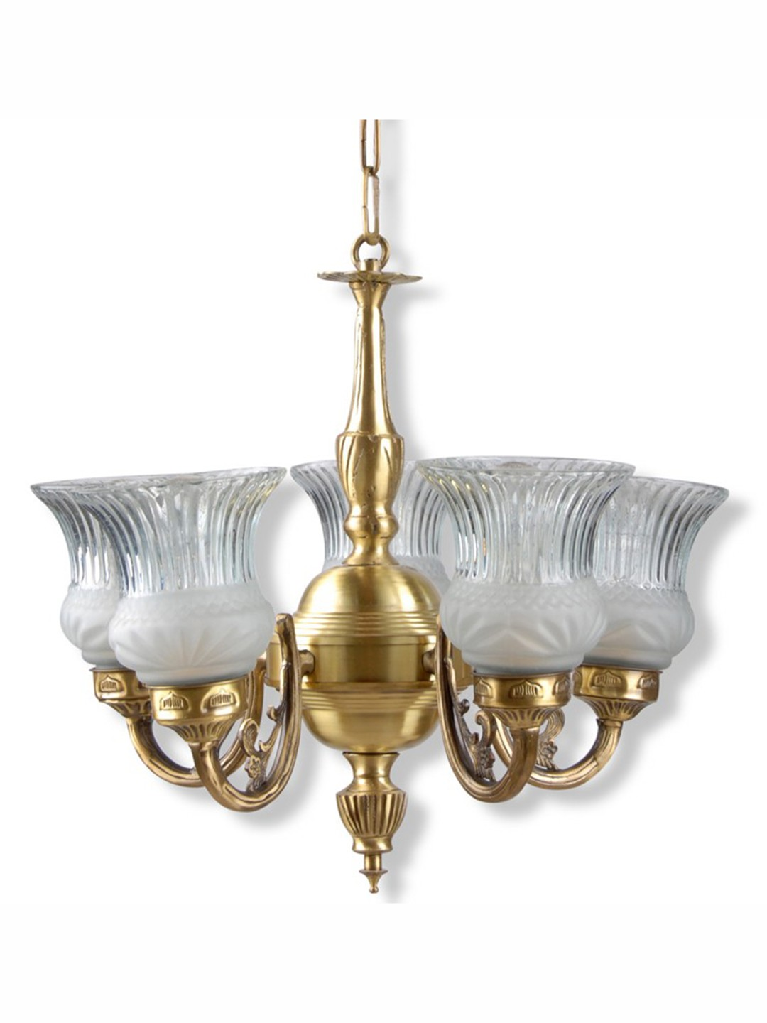 Usha 5 Light Antique Brass Chandelier