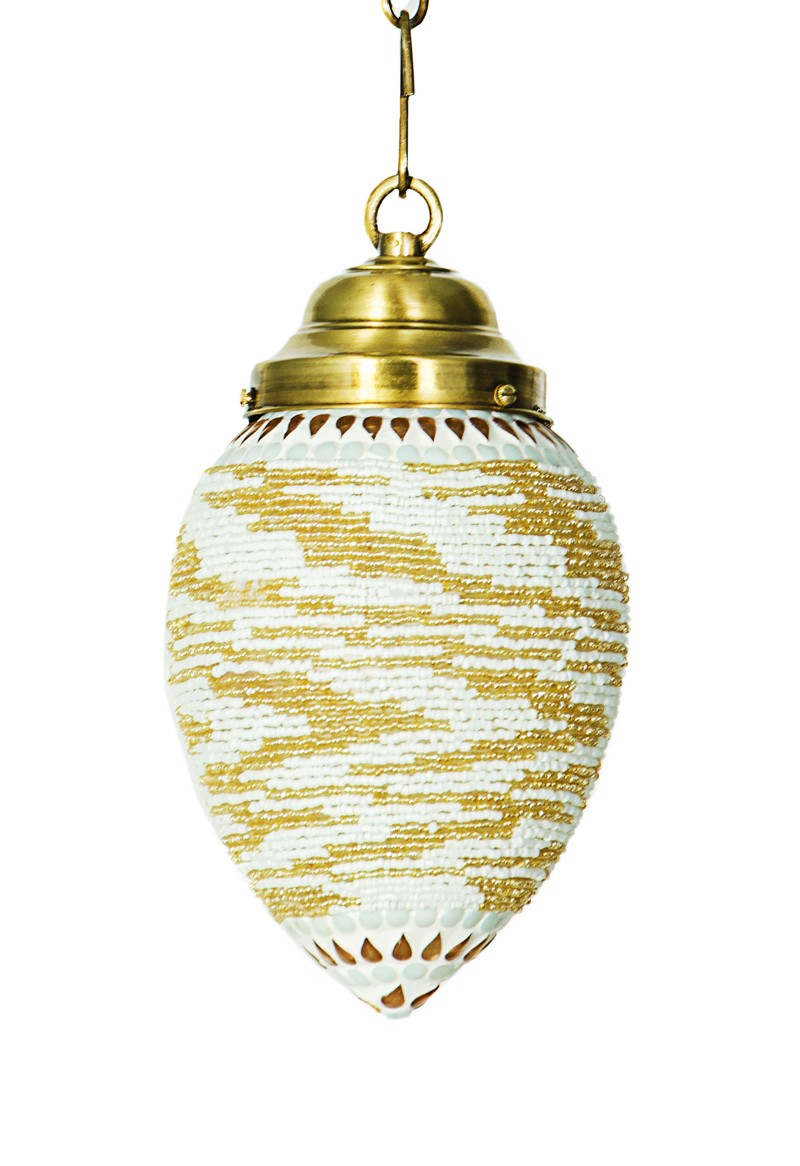 Big Mosaic Bead Oval Hanging Lantern