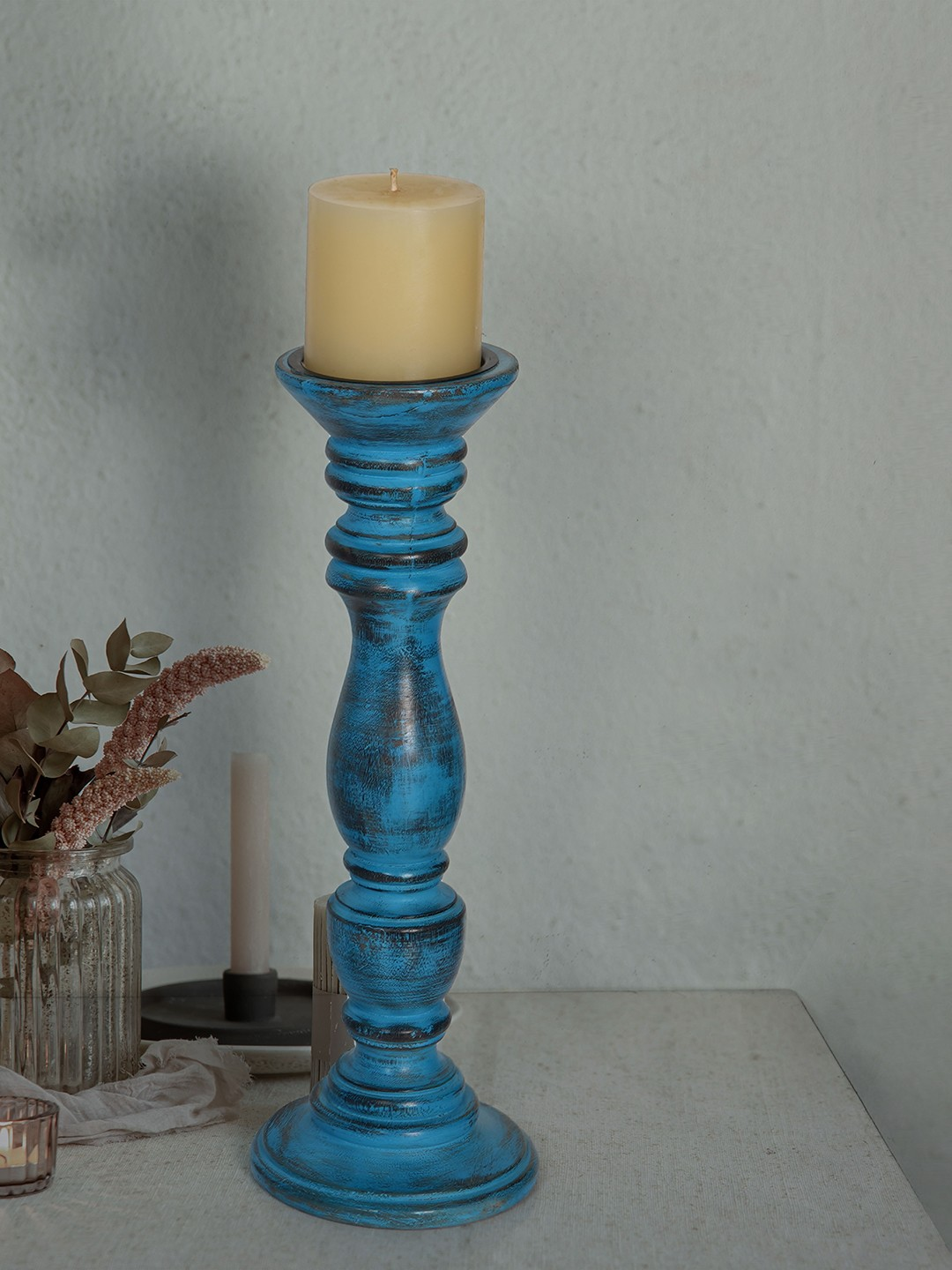 Rustic Blue 15 Inches Wooden Pillar Candle Stand (without candle)