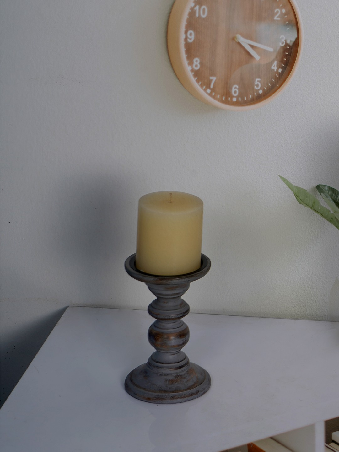 Rustic Grey 6 Inches Wooden Pillar Candle Stand (without candle)