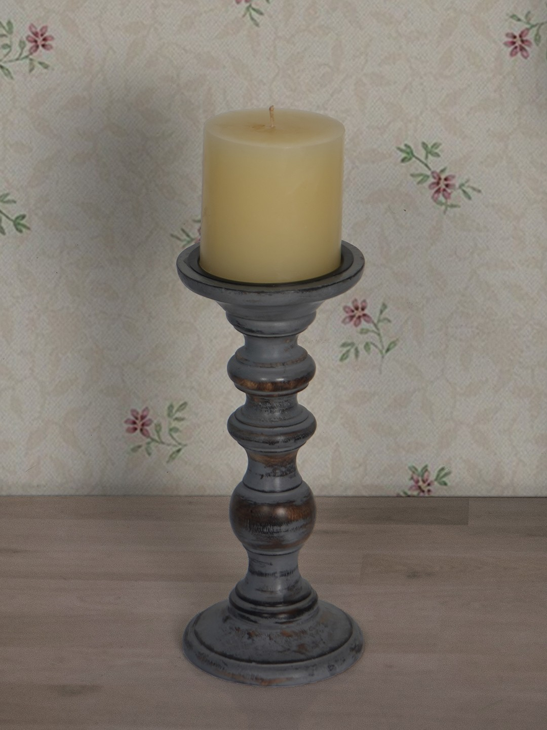 Rustic Grey 9 Inches Wooden Pillar Candle Stand (without candle)