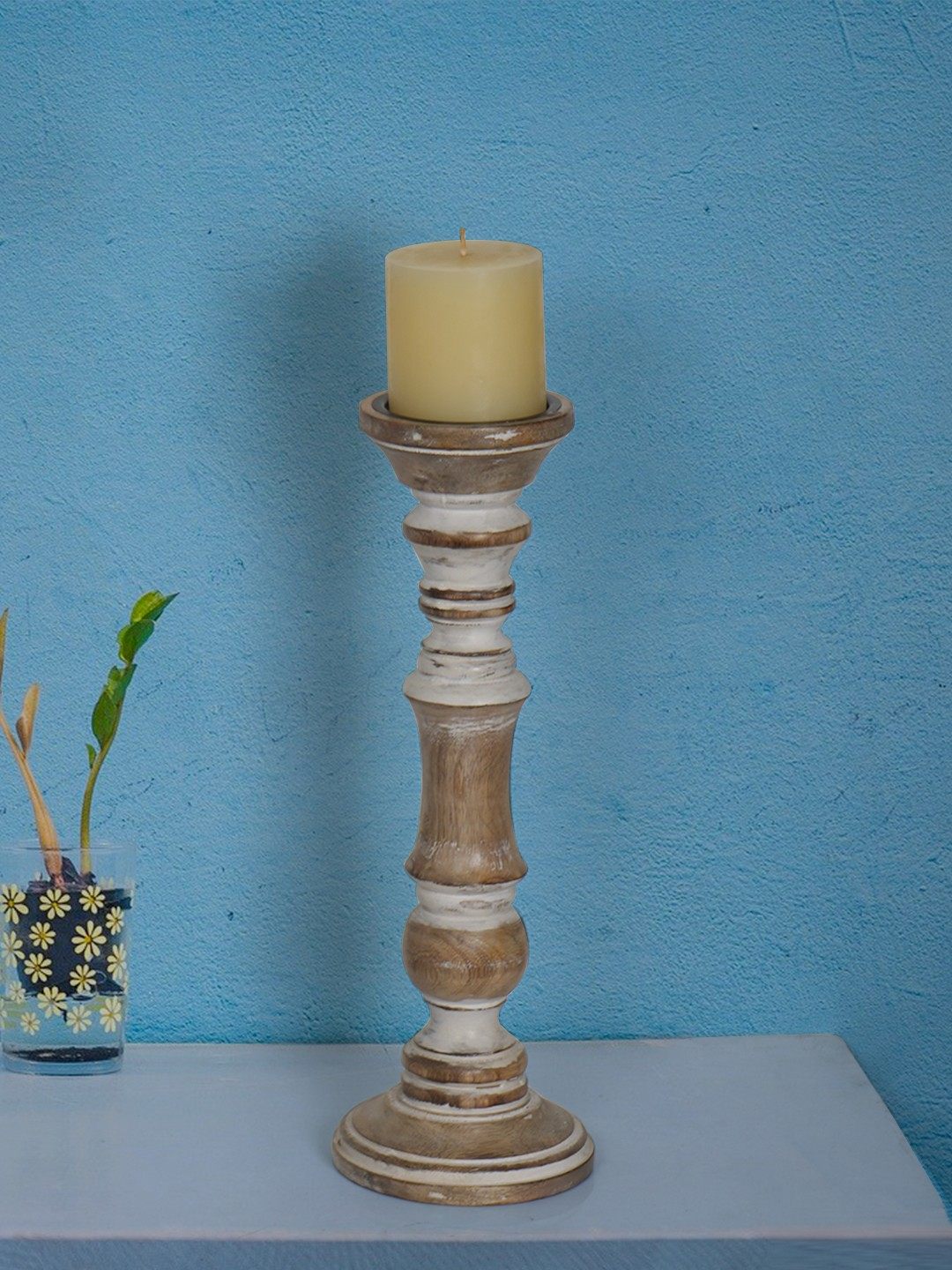 Rustic White 15 Inches Wooden Pillar Candle Stand (without candle)