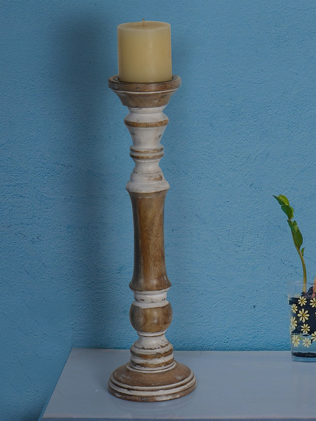 Rustic White 18 Inches Wooden Pillar Candle Stand (without candle)