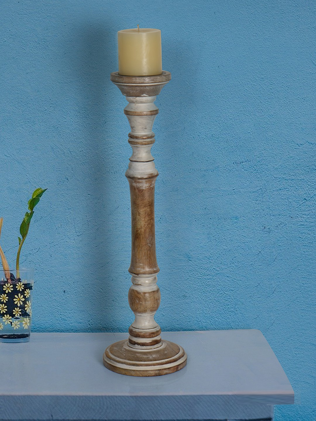 Rustic White 21 Inches Wooden Pillar Candle Stand (without candle)