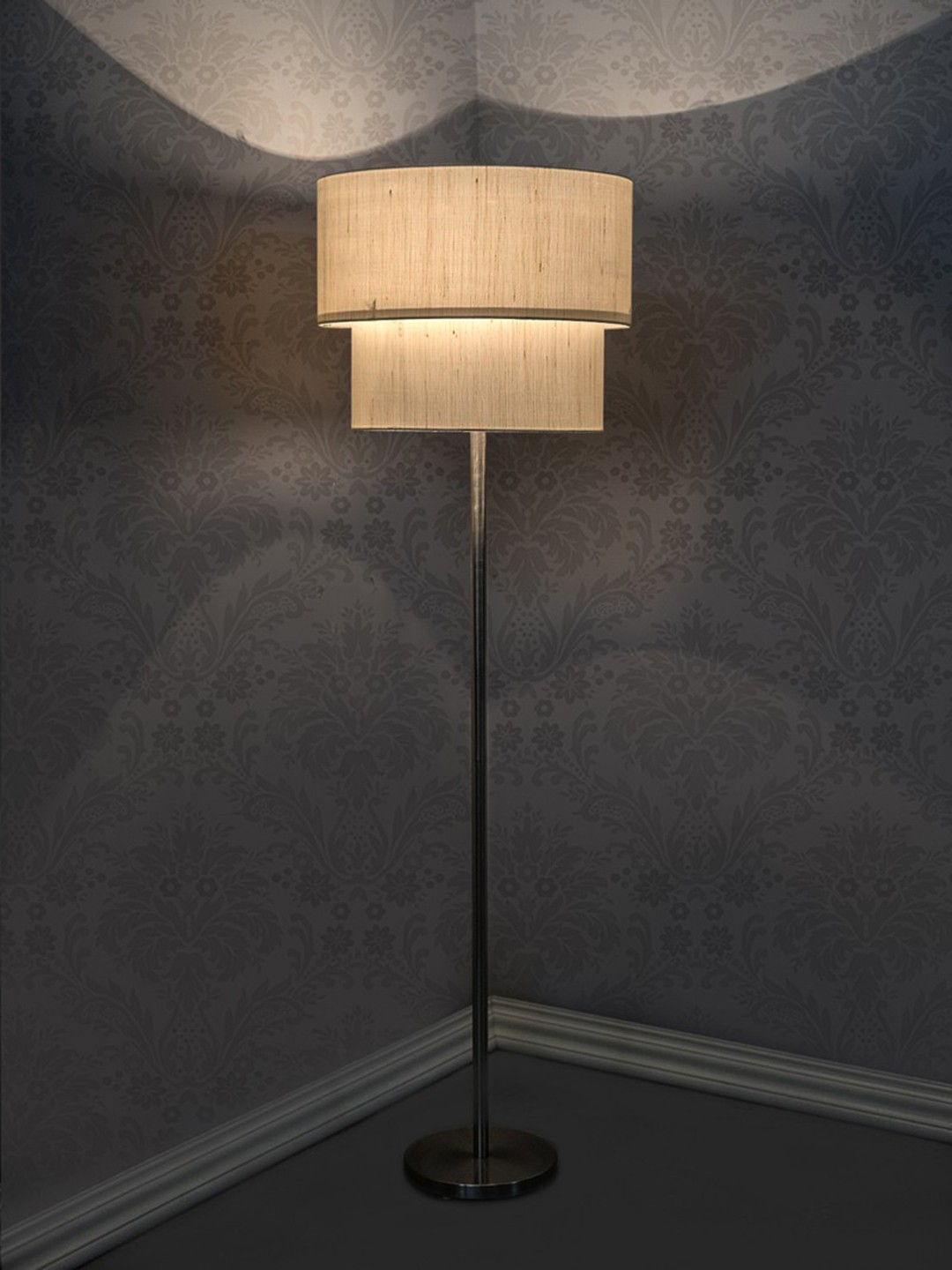 Double Drum Ivory Floor Lamp - 15 inches