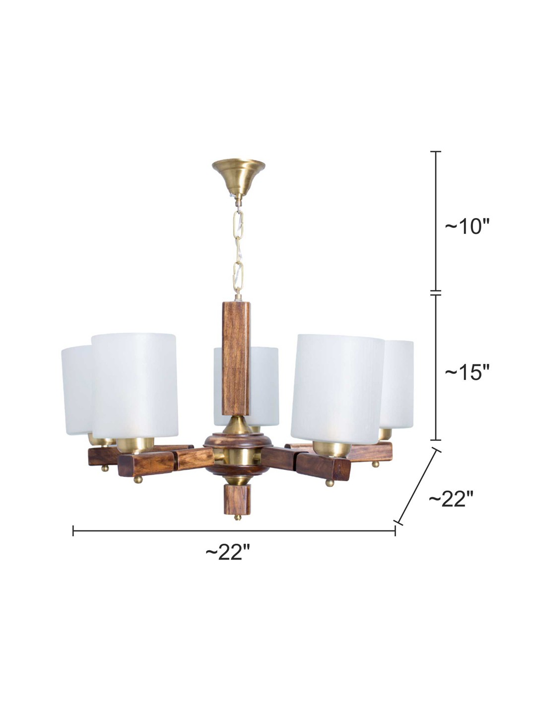 Polo 5 Light Wooden Chandelier