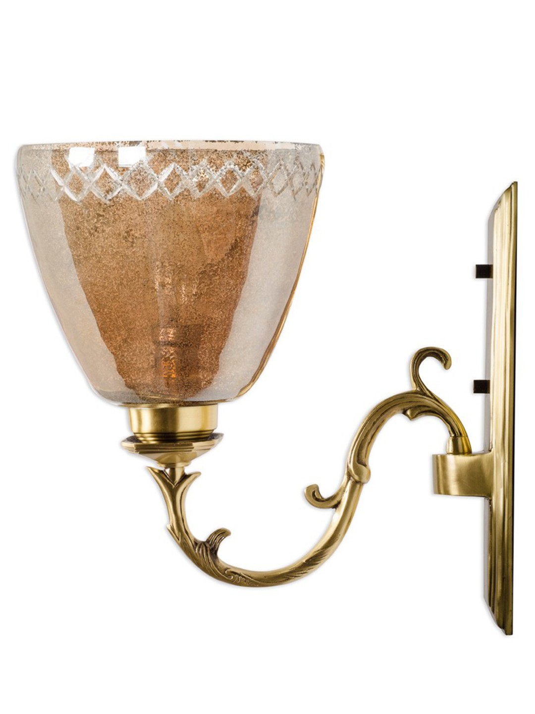 Rectangular Brass with Lustrous Glass Single Wall Sconce