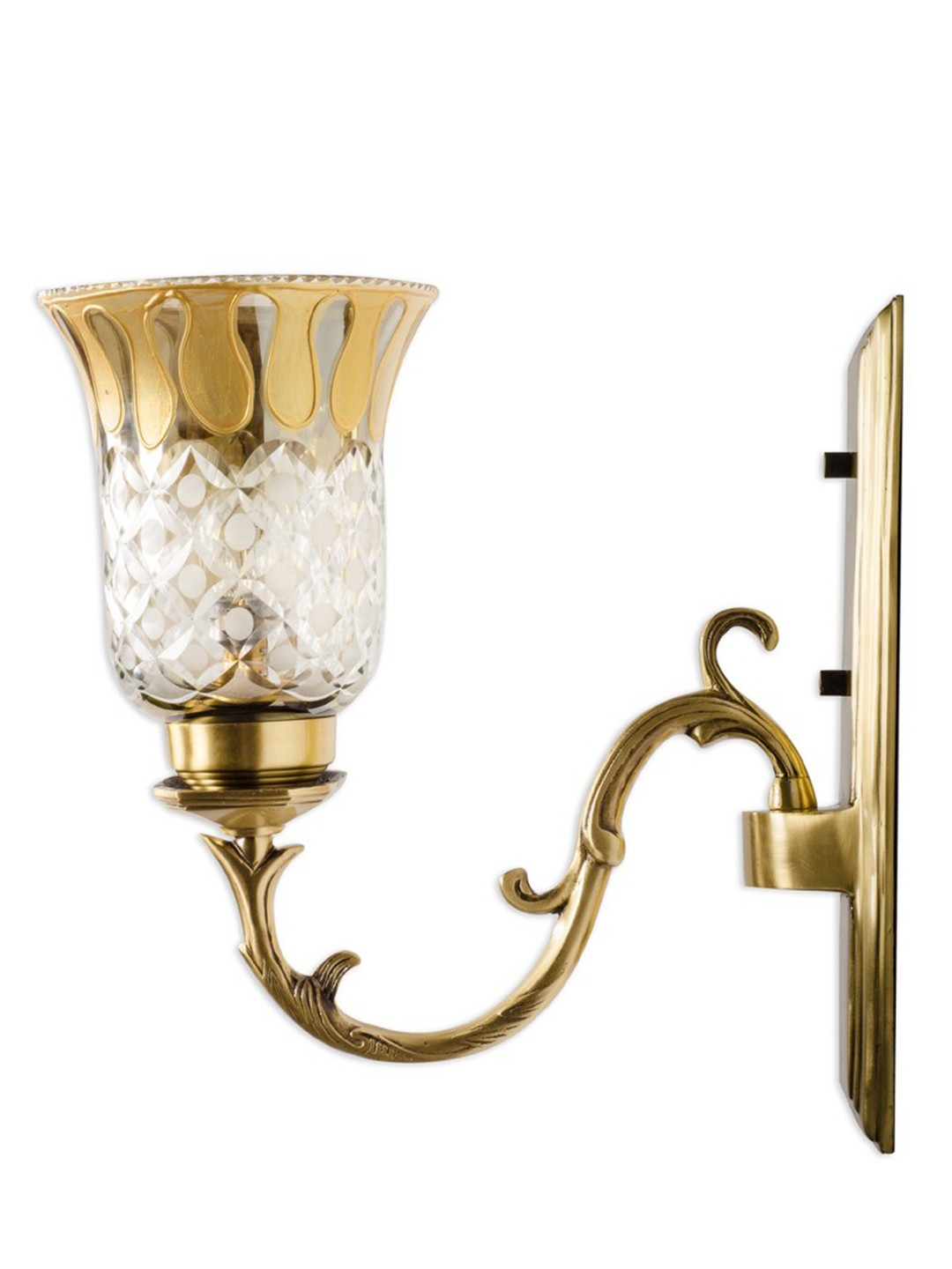 Rectangular Brass with Smoke Cut Glass Single Wall Sconce