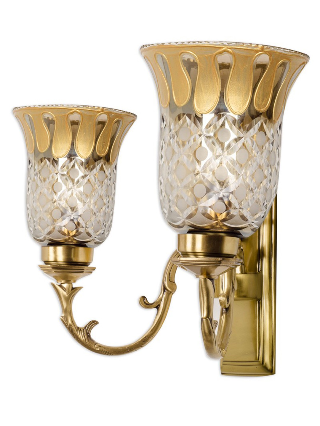 Rectangular Brass with Smoke Cut Glass Double Wall Sconce