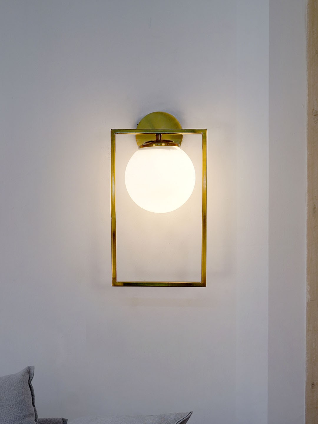 Mid Century Modern Antique Gold Rectangular Ring Wall Light with Frosted Glass Globe