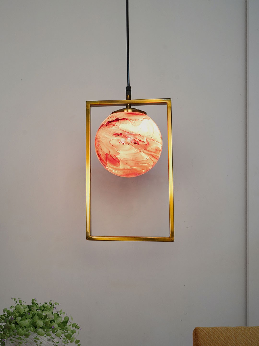 Mid Century Modern Antique Gold Rectangular Ring Hanging Light with Red Marble Glass Globe