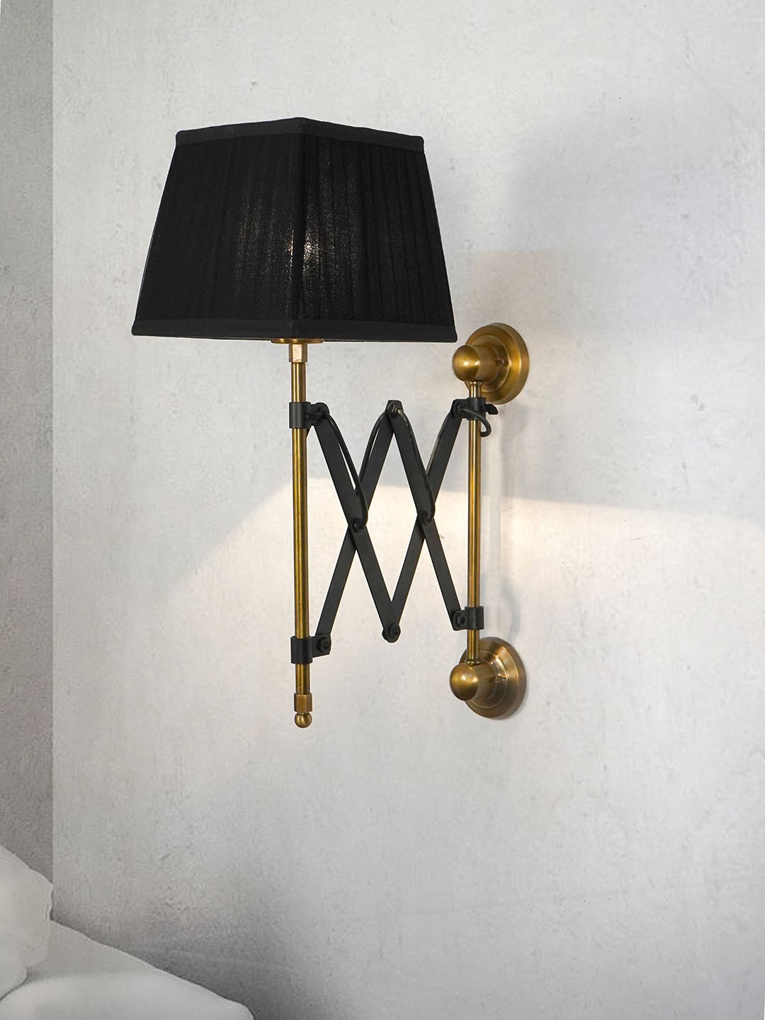 Scissor Accordion Arm wall Sconce with Square Black Pleated Fabric Shade