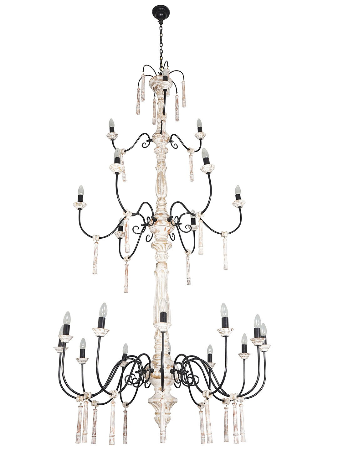 Chic French Country 21 Lights 3 Tier Rustic White Wood and Wrought iron Candelabra Chandelier