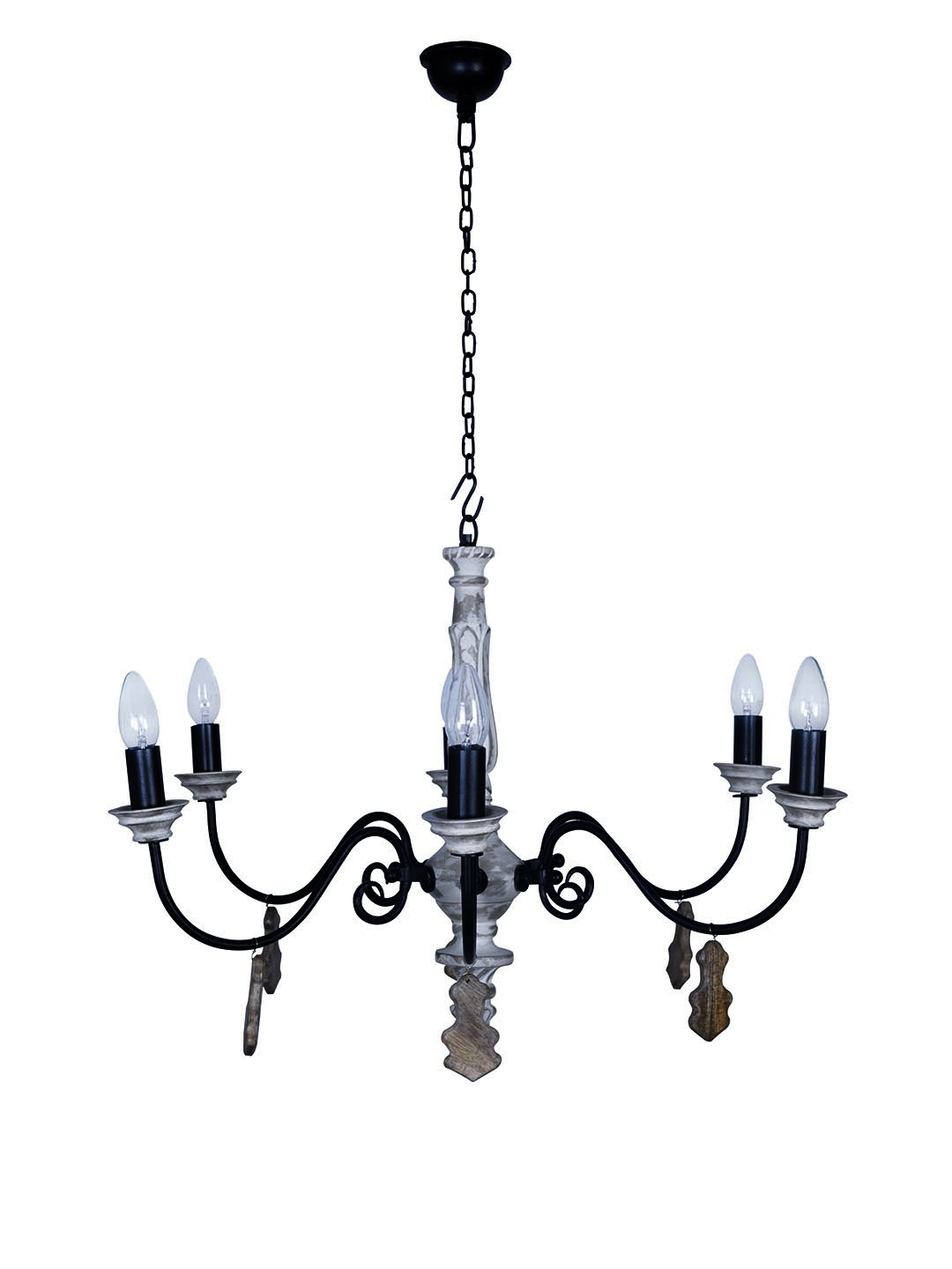 Chic French country Small 6 light rustic white chandelier