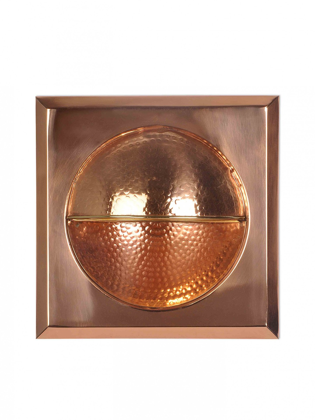 Square hammered copper wall sconce