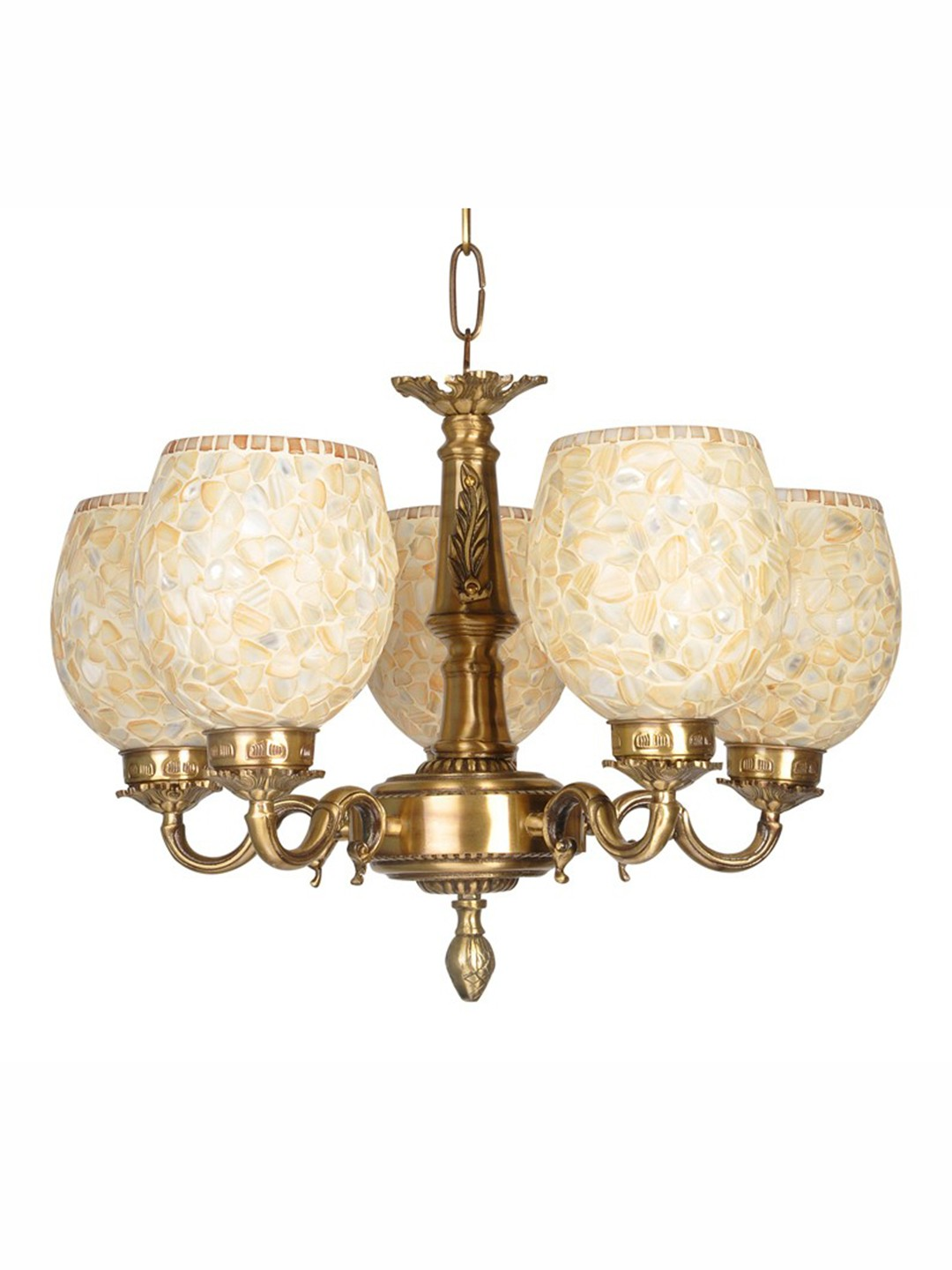 Brass Vine 5 Light MOP Chandelier
