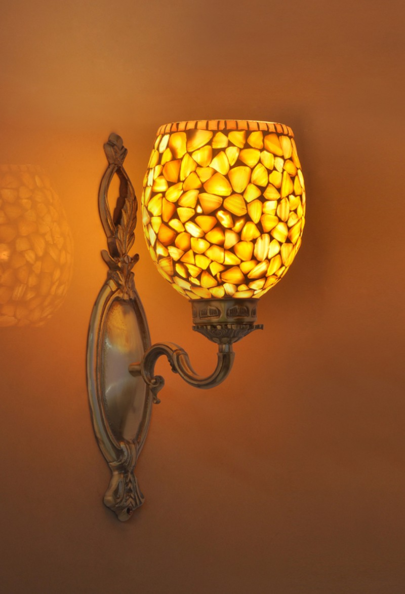 Brass Vine Single MOP Wall Light