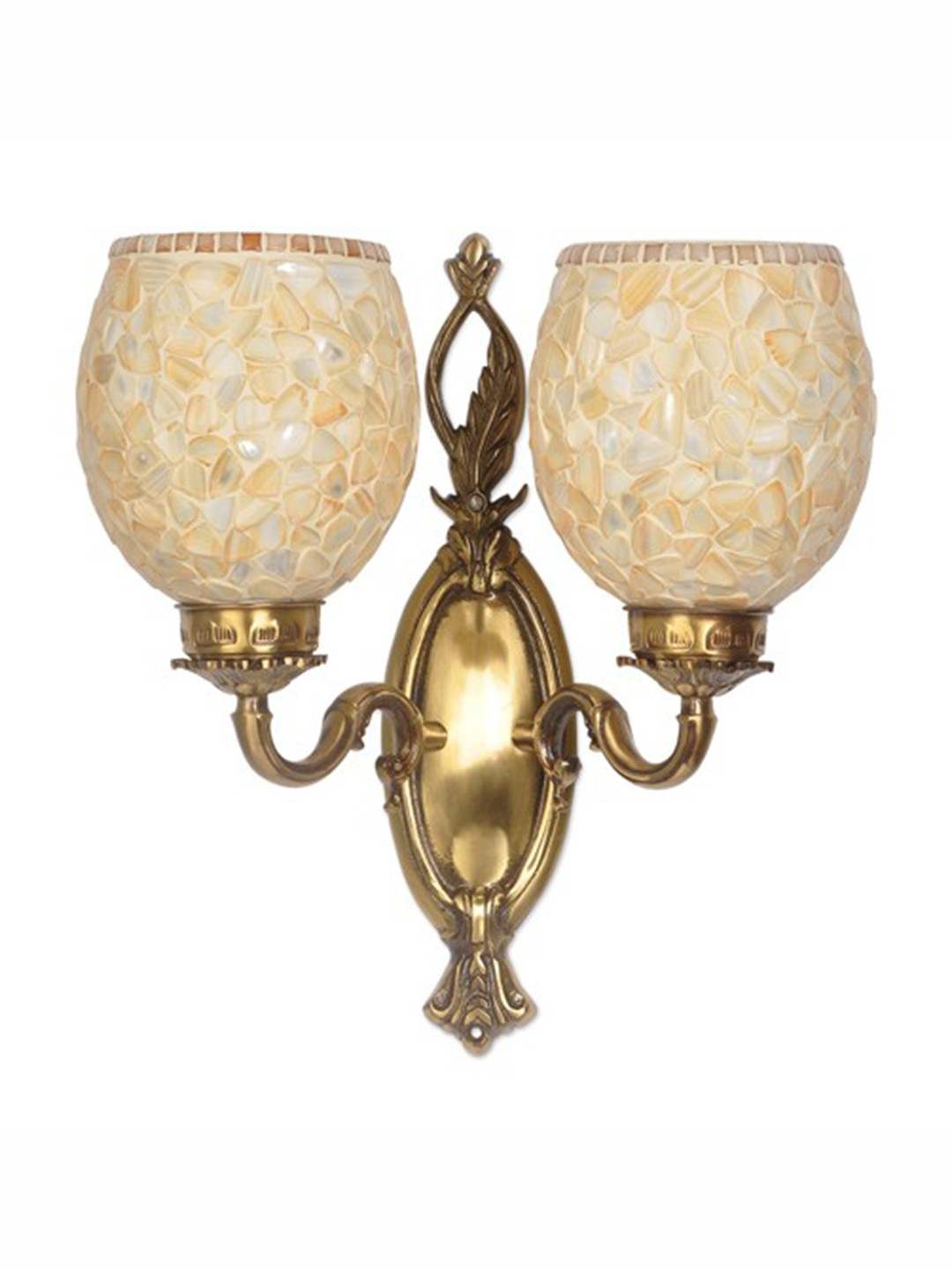 Brass Vine Double MOP Wall Light