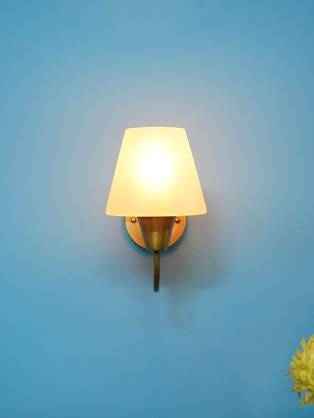Gooseneck Brass Swivel Wall Sconce with Tapered Frosted Glass Shade