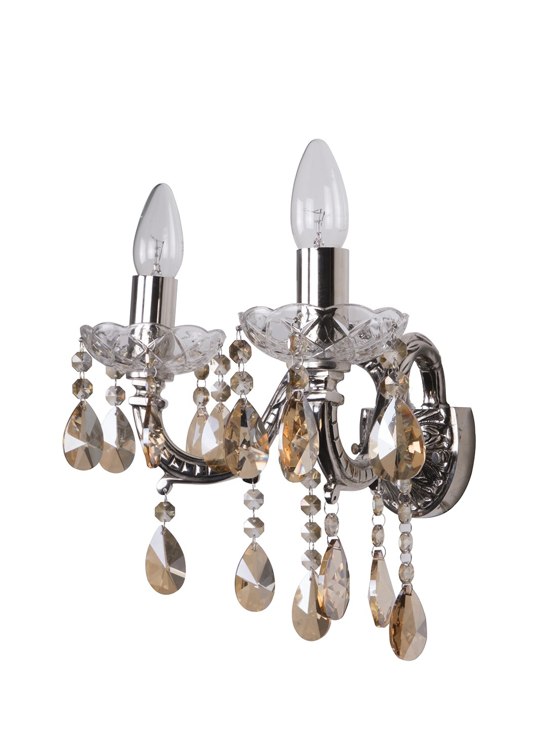 SZ Silver 2 Light Brass Crystal Wall Sconce