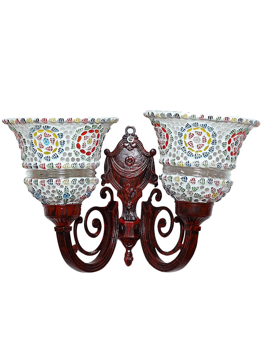 Taj Red Aluminum and Mosaic Glasses 2 Light Wall Sconce