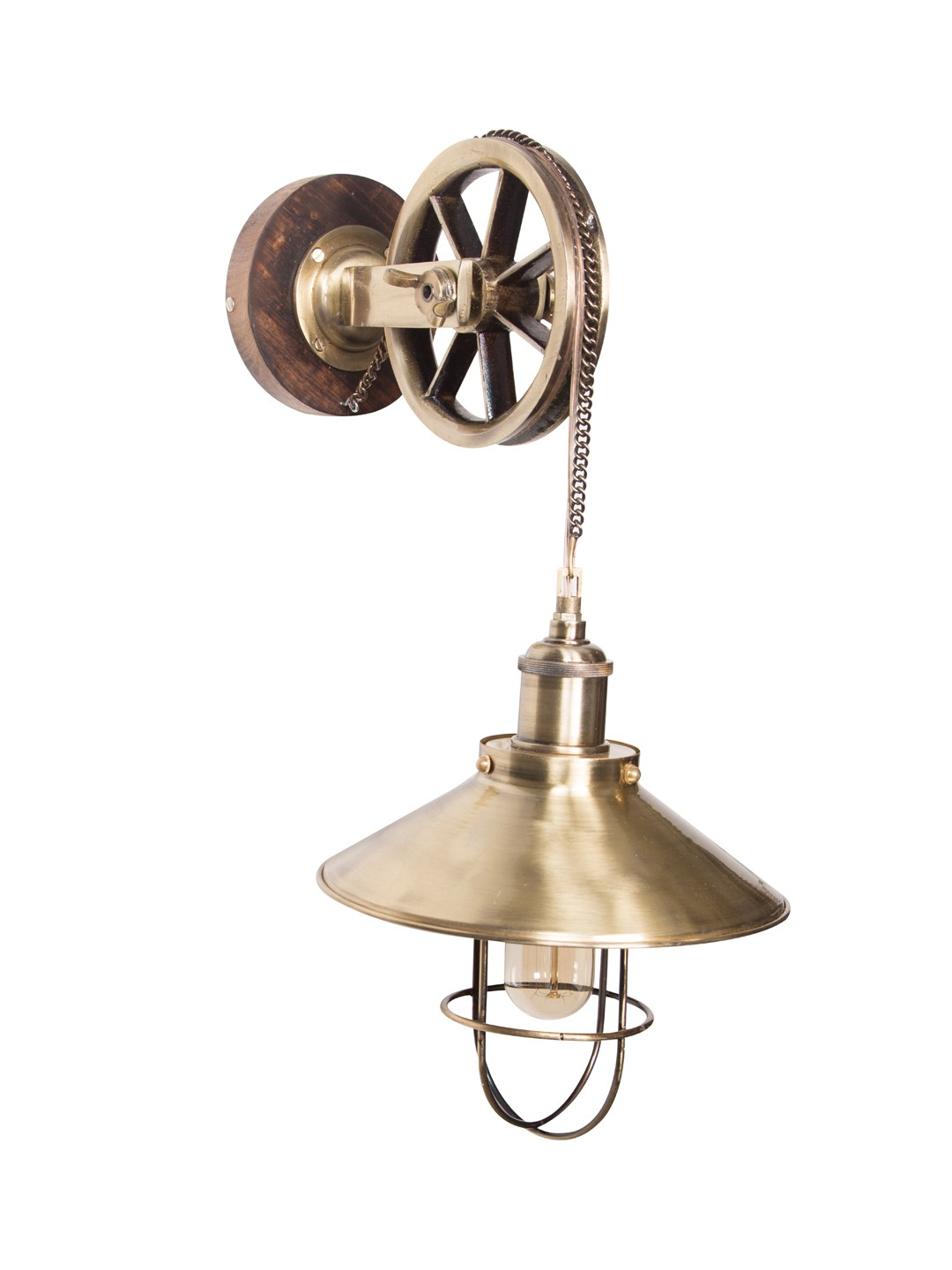 Fos Lighting Industrial Barn Antique Pulley Wall Sconce