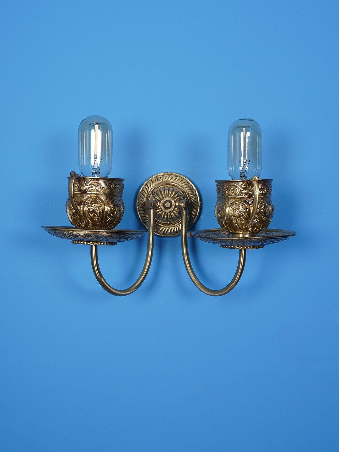 Brass Teacup wall sconce Twin Arm