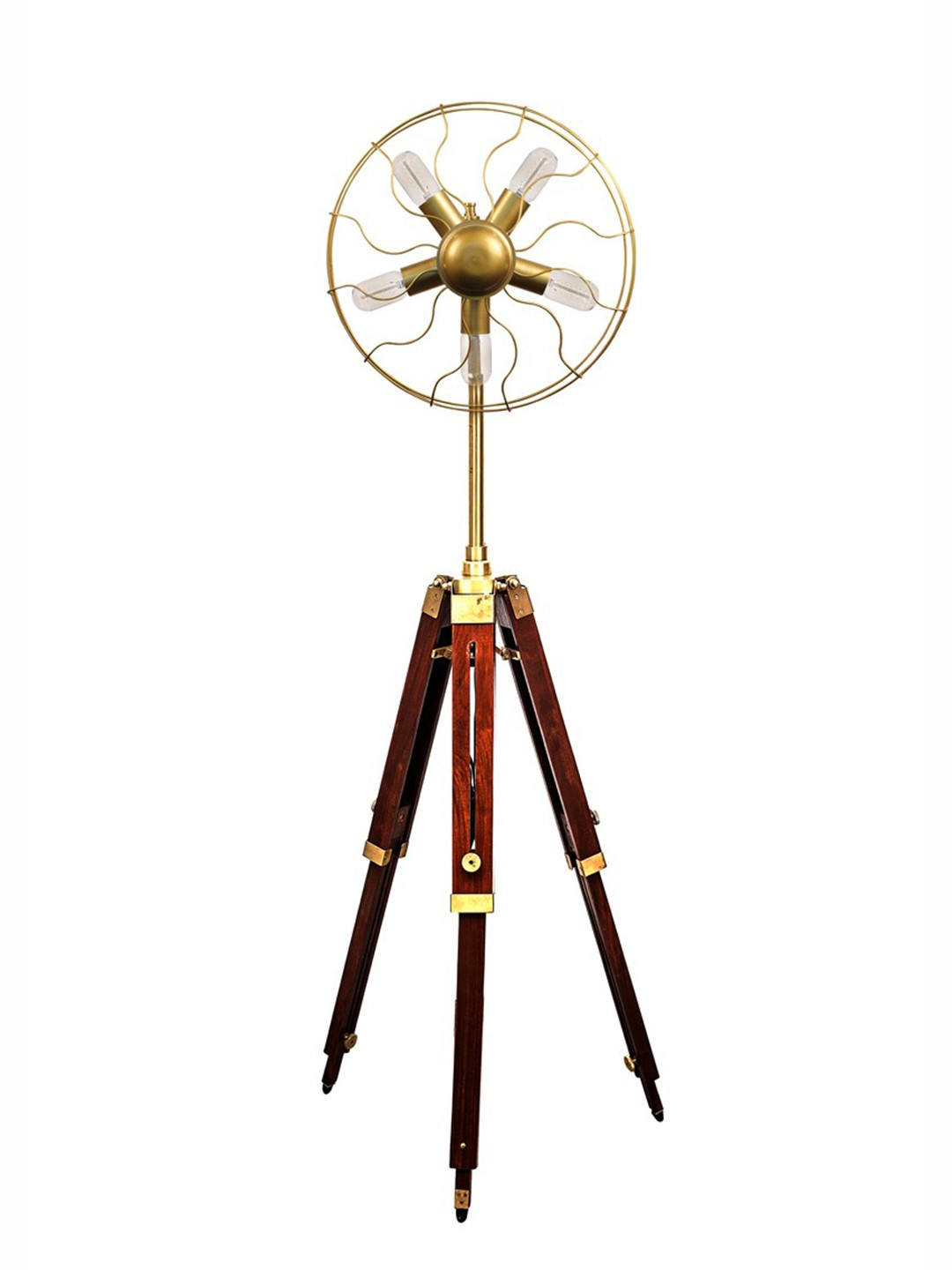 Vintage Tripod Fan 5 Light Floor Lamp
